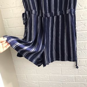 Mimi Chica Pants - Mimi Chica navy striped shorts romper